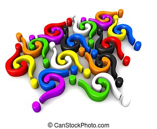 Multicolor question-marks connecting - Multicolor question...
