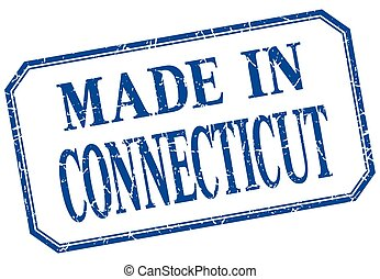 Connecticut - made in blue vintage isolated label