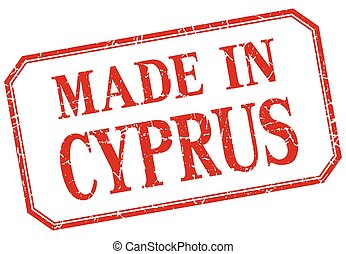 Cyprus - made in red vintage isolated label