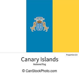 National flag of Canary Islands with correct proportions,...