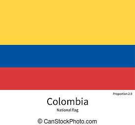 National flag of Colombia with correct proportions, element,...