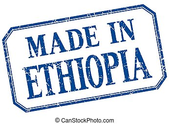 Ethiopia - made in blue vintage isolated label