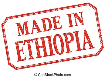 Ethiopia - made in red vintage isolated label