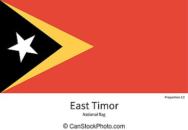 National flag of East Timor with correct proportions,...