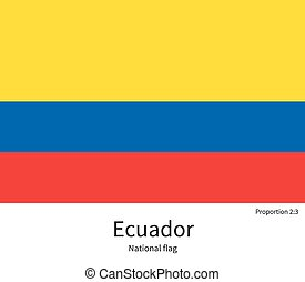 National flag of Ecuador with correct proportions, element,...