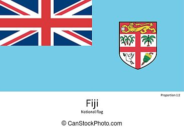 National flag of Fiji with correct proportions, element,...