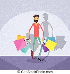 Shopping Man Walking with Shop Bags