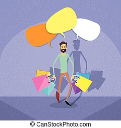 Shopping Man Chat Bubble Copy Space Communication Concept...