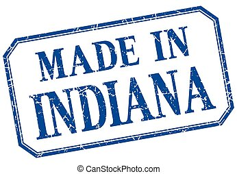 Indiana - made in blue vintage isolated label