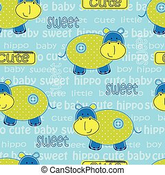 Seamless pattern with cute hippo and lattering.eps