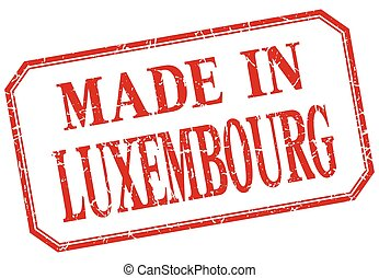 Luxembourg - made in red vintage isolated label