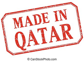 Qatar - made in red vintage isolated label