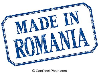 Romania - made in blue vintage isolated label