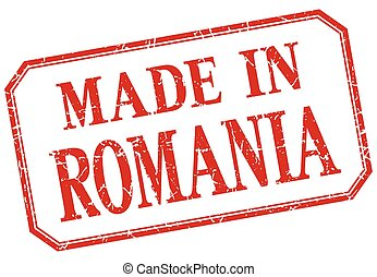 Romania - made in red vintage isolated label