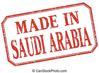 Saudi Arabia - made in red vintage isolated label