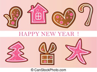 new year cookies set