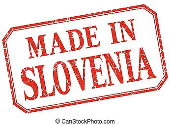 Slovenia - made in red vintage isolated label