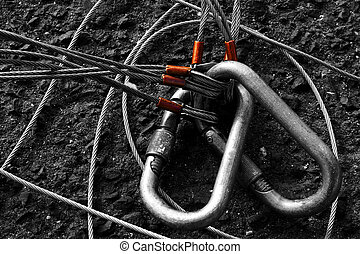 Carabiners - Black and white photo of two carabiners and...