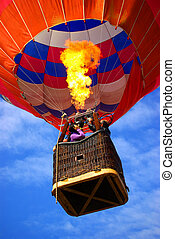 Hot Air Balloon - Colorful hot air balloon with bright...