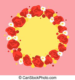 Vector wreath with flowers - Vector wreath with diffrendt...