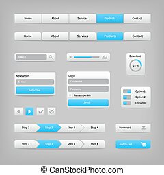 Web site elements with blue buttons navigation on gray.