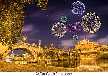 Fireworks under Castle of Holy Angel