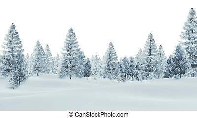 Snowy spruce forest on a white background - Daytime winter...
