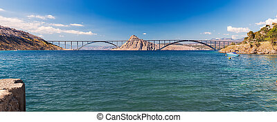 Panoramic view of Krk bridge, Croatia