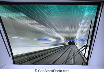 view from cabin of train - view of high-speed way for train...