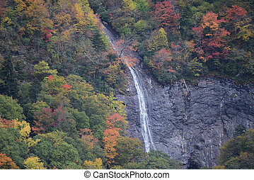 Glassmine Falls in early fall at Blue Ridge Mountains