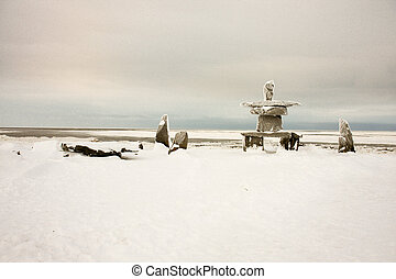 Inukshuk in Churchill, Manitoba, Canada