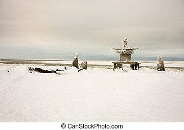 Inukshuk in Churchill, Manitoba, Canada