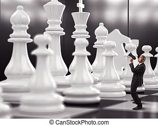 Strategy game - Businessman yelling to chess piece to move