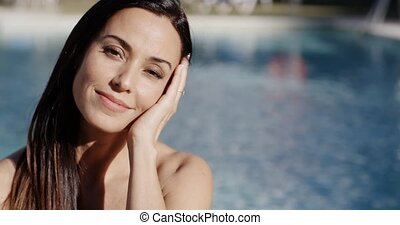 Happy vivacious woman enjoying summer sunshine - Happy...