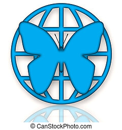 Butterfly and Earth - Butterfly and Globe blue symbol of...
