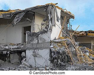 Demolished building - Old building under demolition, lots of...