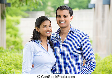 Happy couple - Closeup portrait, attractive wealthy...
