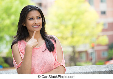 Daydreaming young woman - Closeup portrait, charming upbeat...