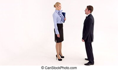Businessman Comes to the Meeting - Businesswoman invites...