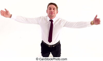 Businessman Happily Spread his Arms - Businessman happily...