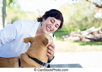 Dog care - Closeup portrait, sweet moments healthcare...