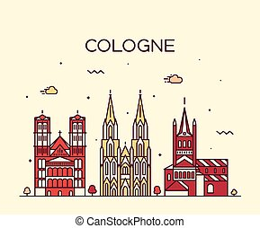 Cologne skyline vector illustration linear style