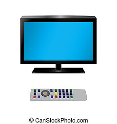 TV and remote control. Illustration, elements for design.