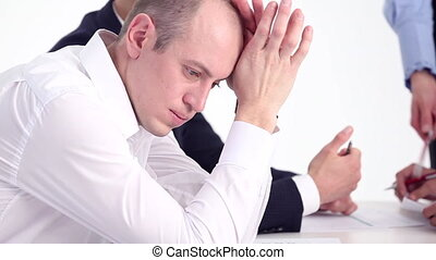 Stress in the Workplace - Businessman in the depressed...