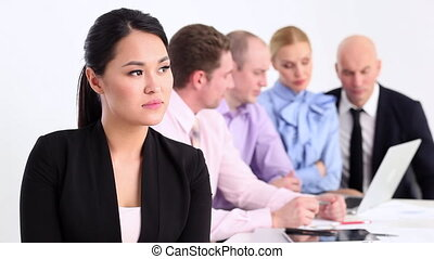 Successful business team - Business team looking at the...