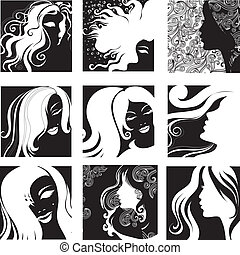 portrait of beautiful woman - Vector set of closeup...