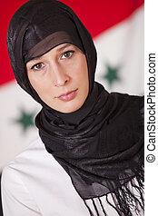 sur, femme, religieux, drapeau, irak