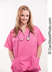 Friendly attractive caucasian healthcare worker doctor nurse