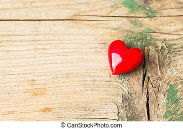 Saint Valentines day decorations - Red heart on the old...