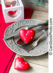 Saint Valentines day decorations - Valentines table setting...